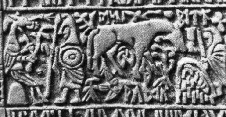 Rechterzijvlak Angelsaksisch runenkistje