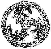 Zevende eeuwse Frankische triskele met raven en valknut