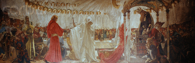 Galahad Being Led to the Seat Perilous by Edwin Austin Abbey