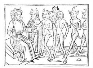 Salomo commandeert de demonen