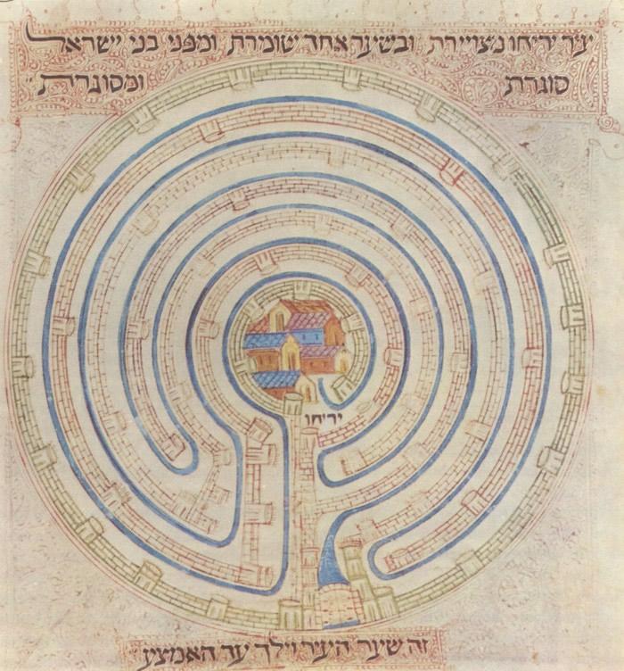 Labyrint uit de Farhi Bijbel dat de muren van Jericho moet voorstellen (ca 1325)