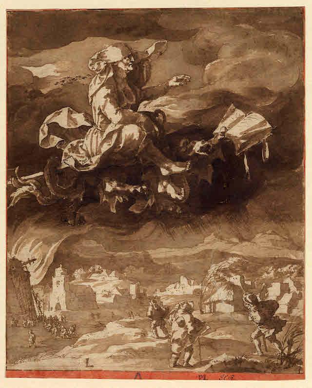 heks rijdt op draak Jan de Bisschop 1628