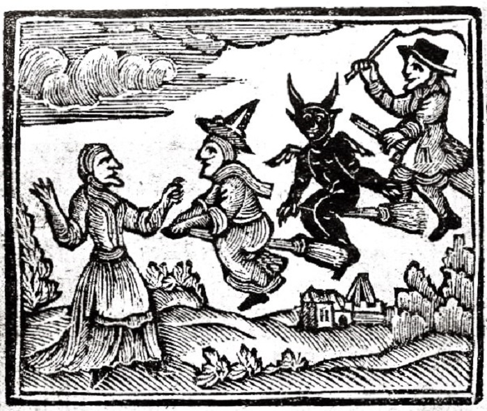 wbr Woodcut Witches with Devil