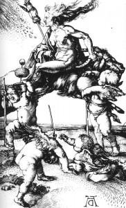 Dürer: Heks rijdt achterstevoren op een bok ca. 1500